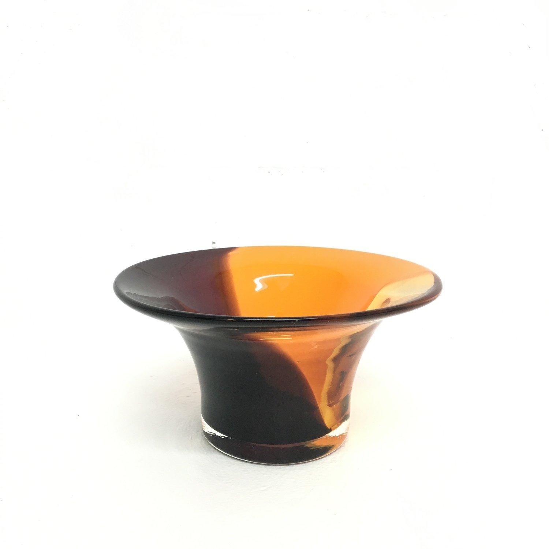 Vintage Hand Blown Orange Accented Art Glass Bowls