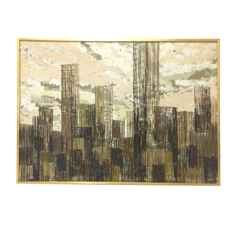 Mid Century Cityscape Oil Painting