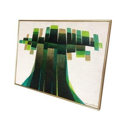 Mid Century Geometric Tree Oil Painting on Board by Van Gelderen