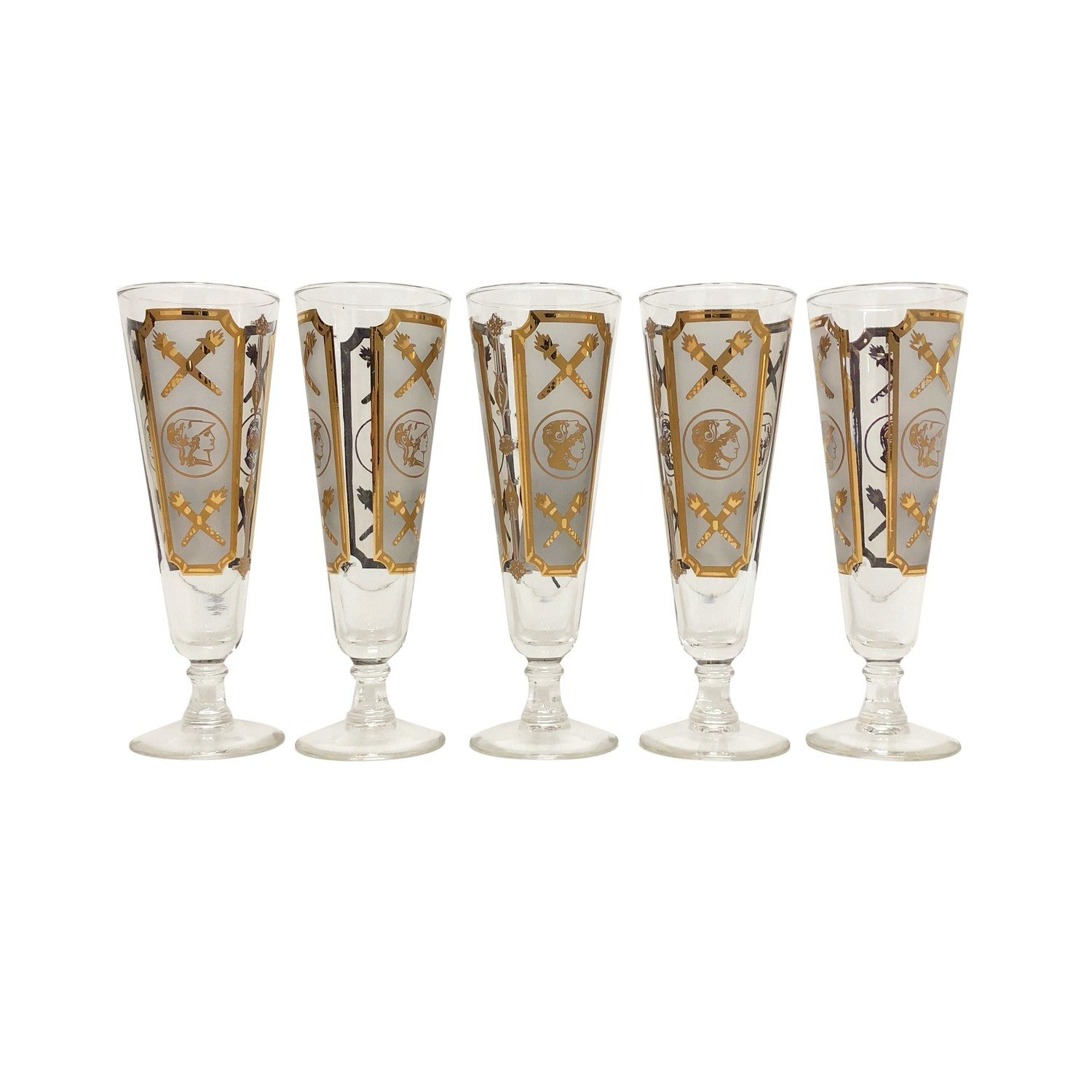 Mid Century Set of 5 Beer Steins in Frosted Glass