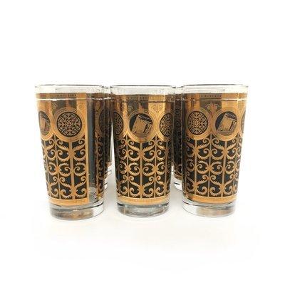 Set of 6 Mid Century Rock of Gibraltar High Boy Glasses
