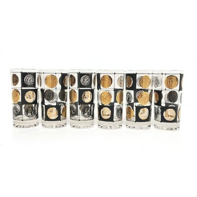 Mid Century Set of Coin Glasses in Gold and Black