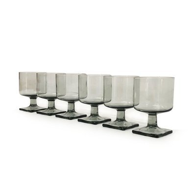 Set of 6 Mid Century Footed Glasses in Gray