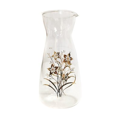 Vintage  Carafe with Gold Flower Design