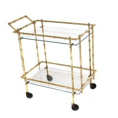 Mid Century Brass Faux Bamboo Bar Cart