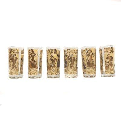 Mid Century Cream & Gold Medieval Peasant Glassware Set (6)