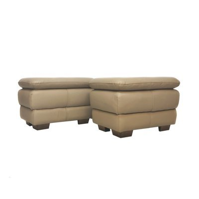 Pair of Beige Faux Leather Modern Ottomans