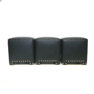 Set of 3 Black Faux Leather Ottomans