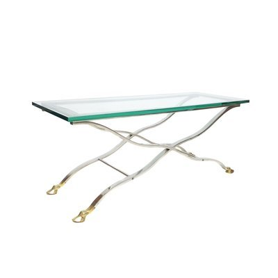Mid Century Modern Chrome & Glass Console/Coffee Table with Brass Hoof Feet