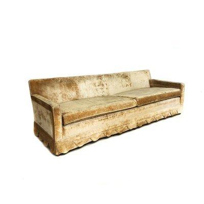 Mid Century Modern Golden Crushed Velvet Sofa with Scalloped Edging