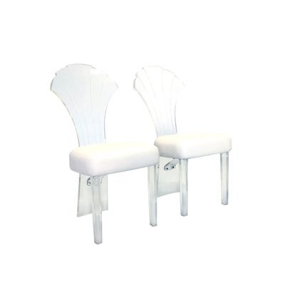 Pair of Vintage Scallop Backed Lucite Chairs