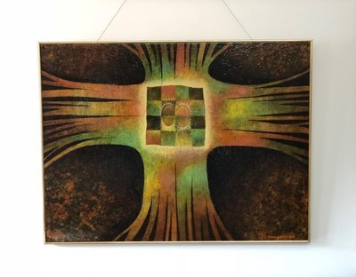 Mid Century Van Gelderen Abstract Oil on Board