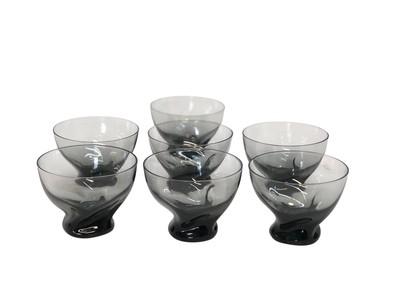Set of 7 Mid Century Organic Swirl Smoke Glasses