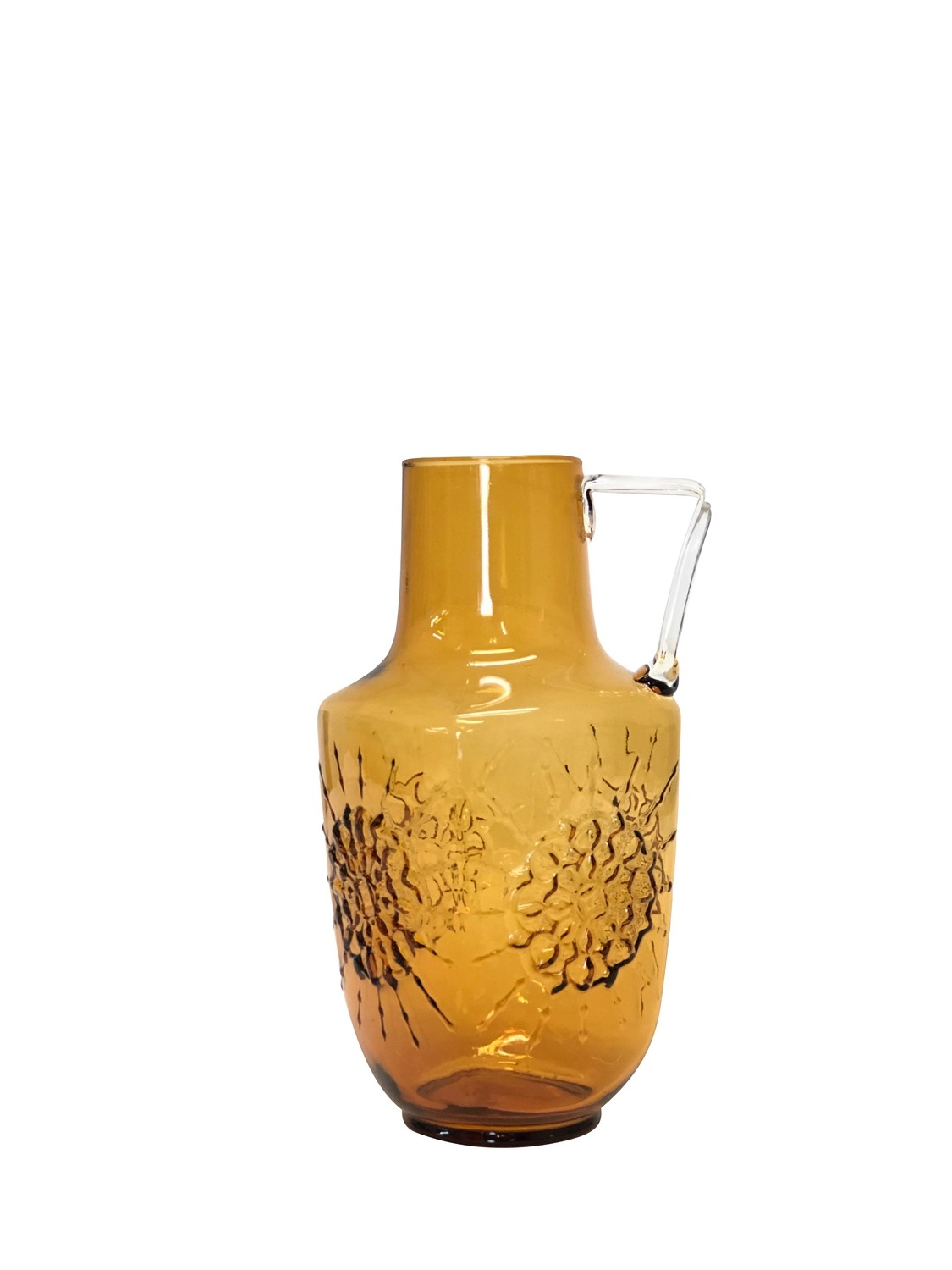Mid Century Art Glass Pitcher with Textured Motif Made in Italy