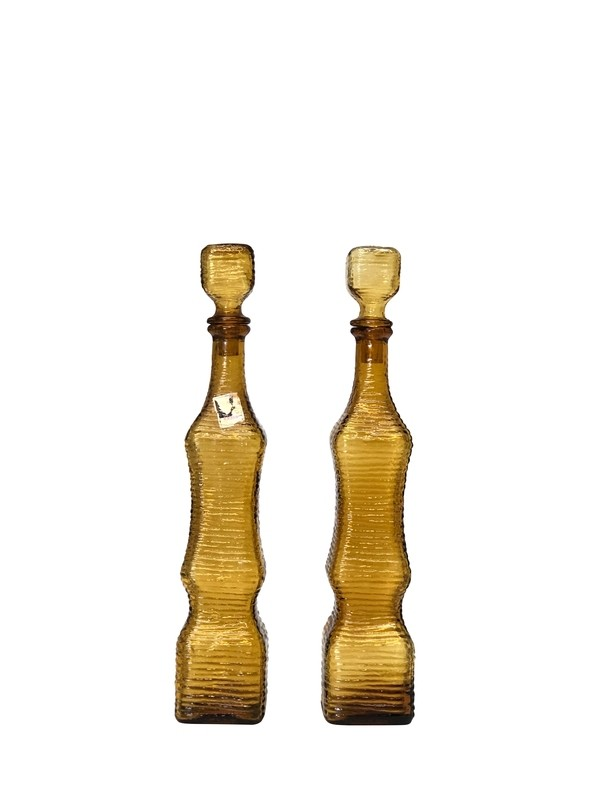 Mid Century Modern Art Glass Textured Decanters in Amber Made in Italy