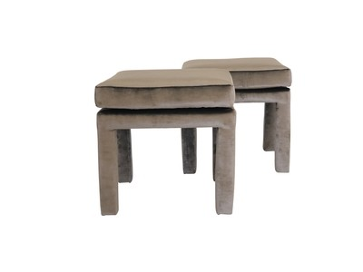 A Pair of Newly Upholstered Parsons Stools in Velvet
