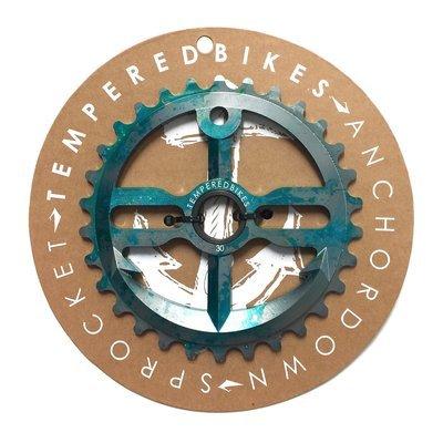 Tempered Anchor Down BMX Sprocket - Green Splatter