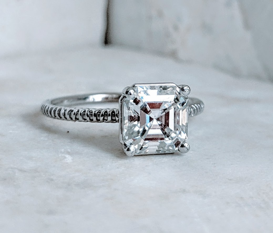 2.5 Carat Supernova Moissanite Asscher in White Gold Ultra Thin Solitaire