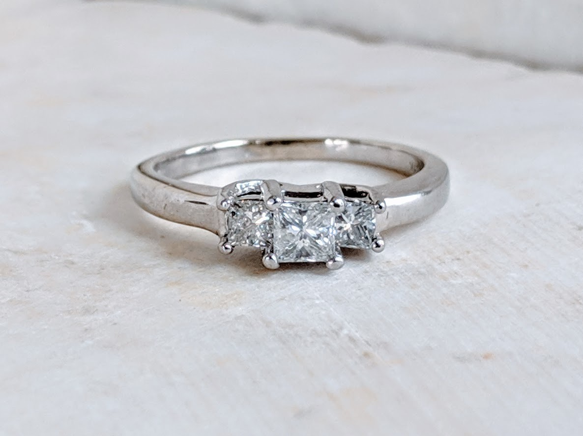 1/2 Carat Total 3 Stone Princess Cut Diamond Engagement or Anniversary Ring