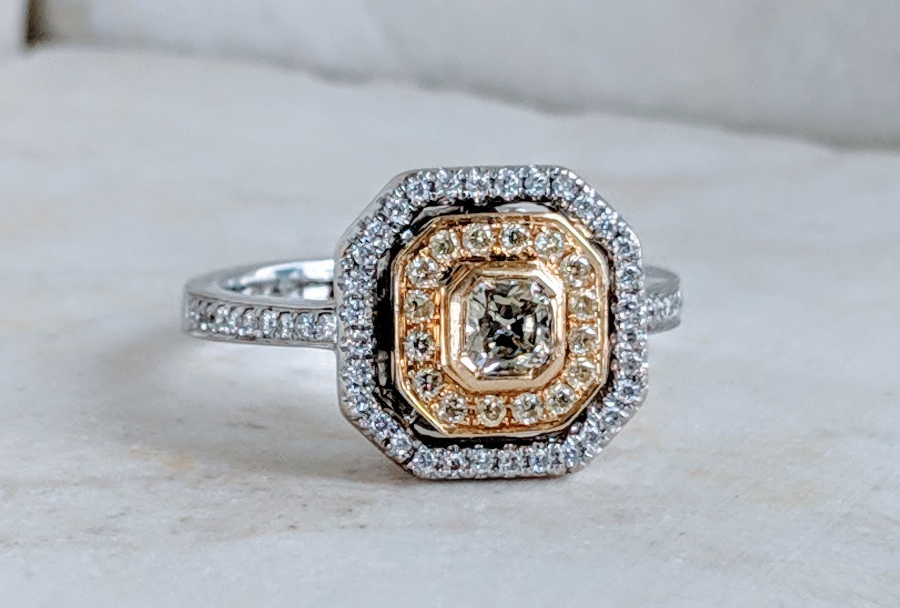 0.92 Carat Total (0.24 Center) Fancy Yellow Cushion Double Halo Engagement Ring Sz 7