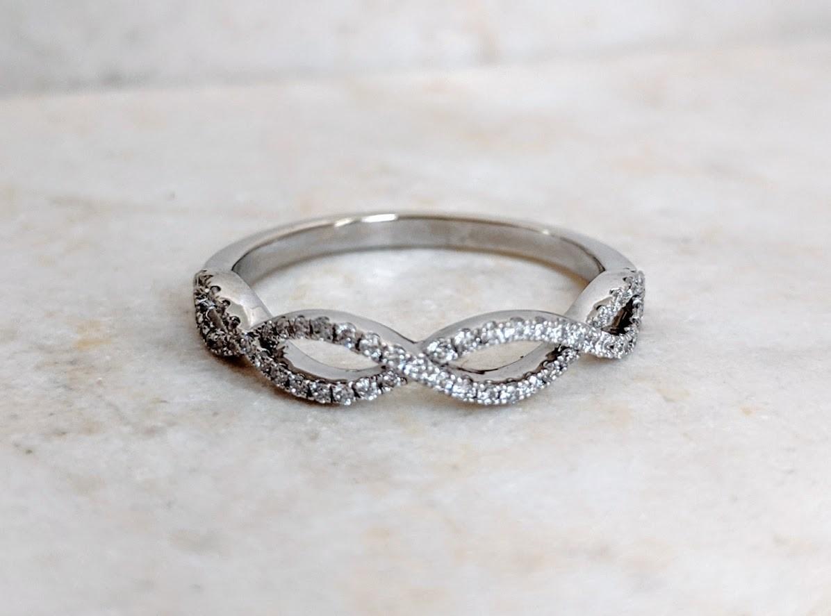 1/4 Carat 14k White Gold Infinity Style Diamond Band