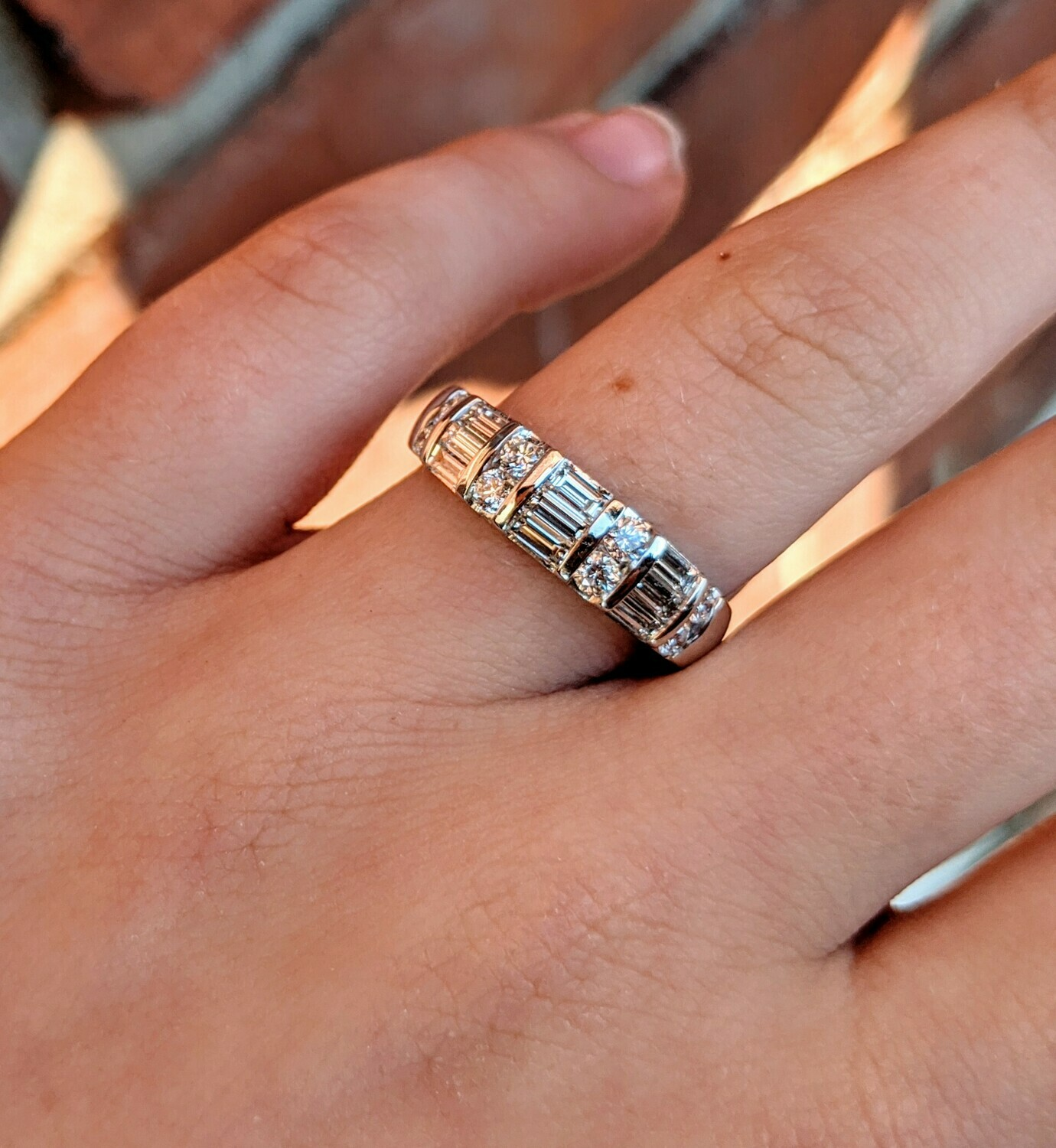 1 Carat Round and Baguette Diamond Band from Shane Co