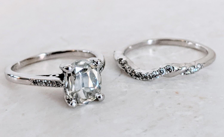 2 Carat Antique Cushion Cut Moissanite, Rose Cut in 14k White Gold Diamond Wedding Set Sz 4.5