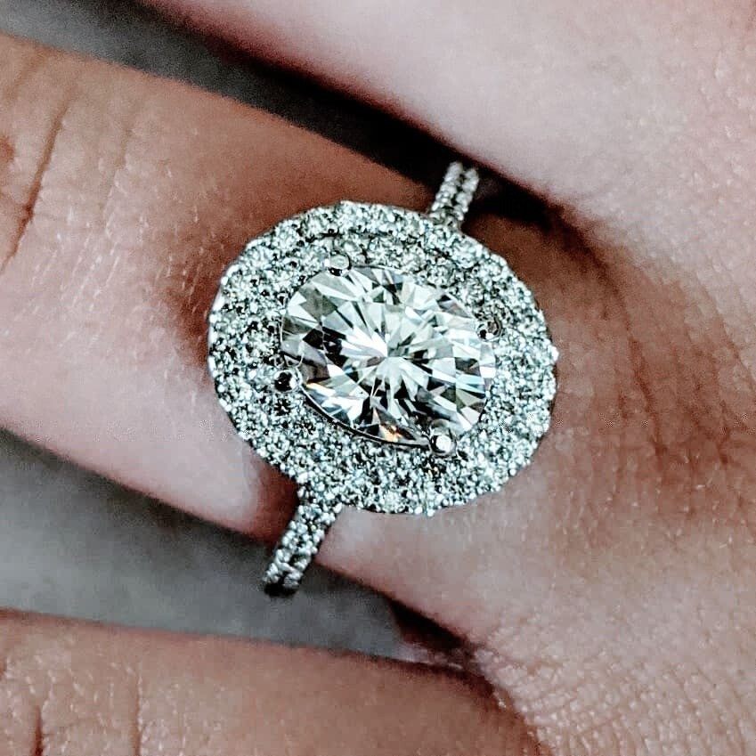 Oval Moissanite in Natural Diamond Double Halo Ring Sz 6.5