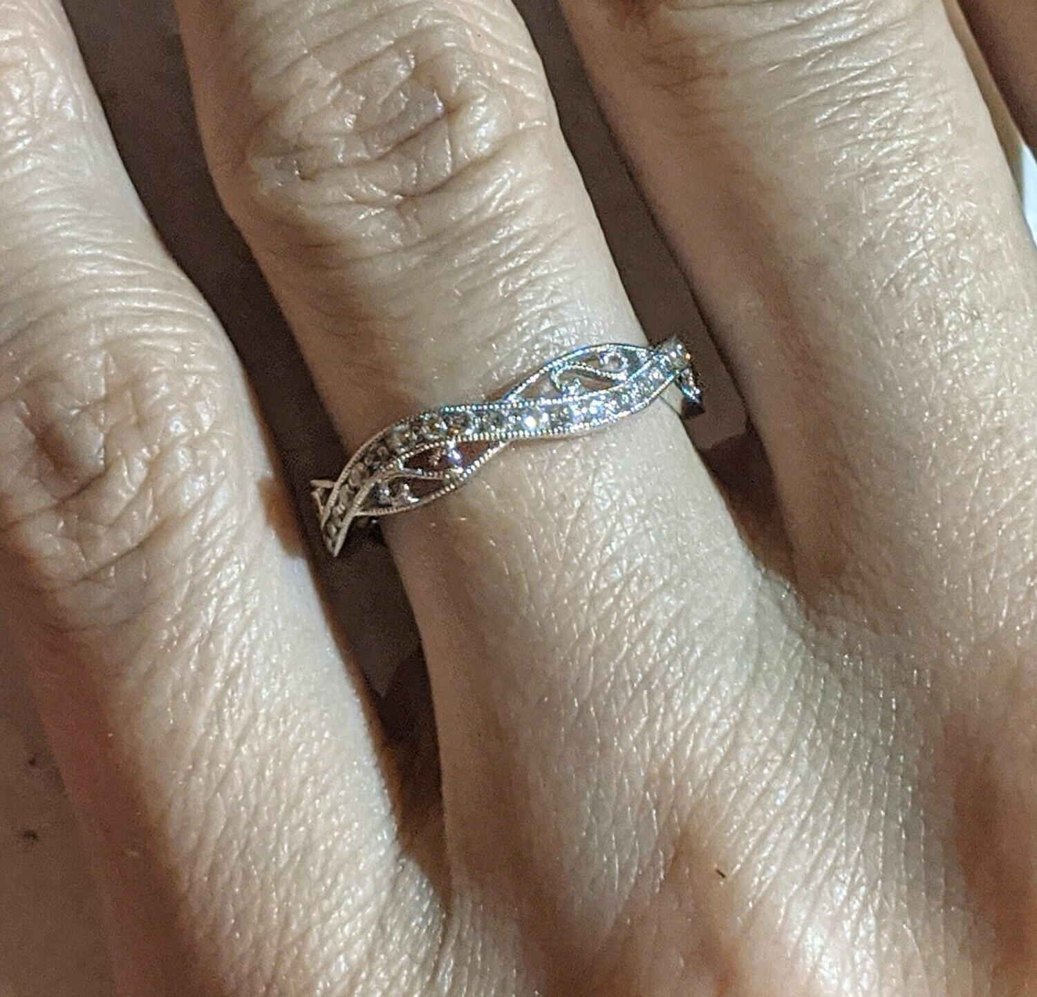 Gabriel & Co Infinity Design 1/4 Ct 14k White Gold Band