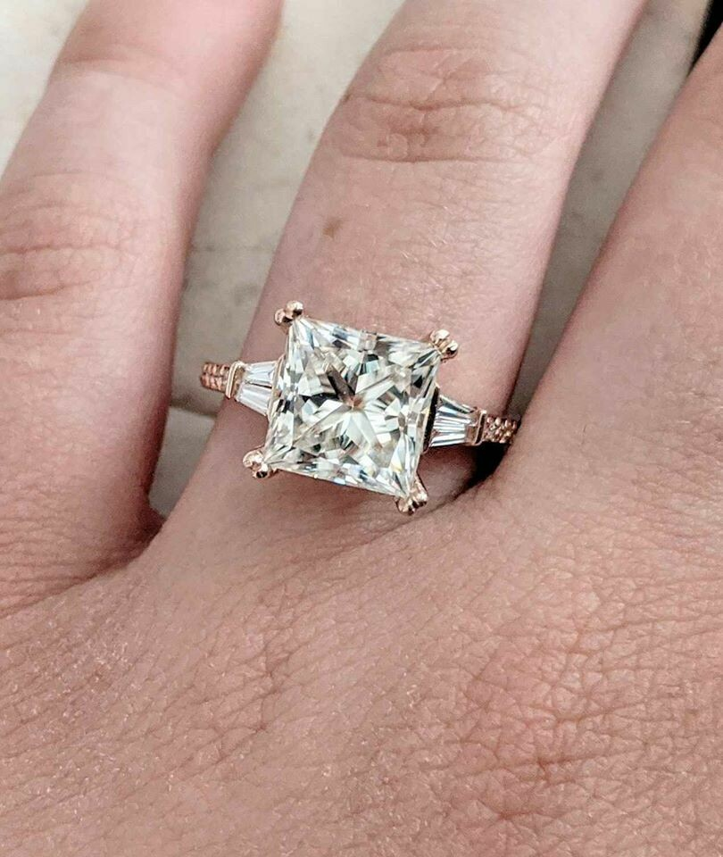 3.80 Ct total Moissanite and Diamond Engagement Ring in 14k Rose Gold