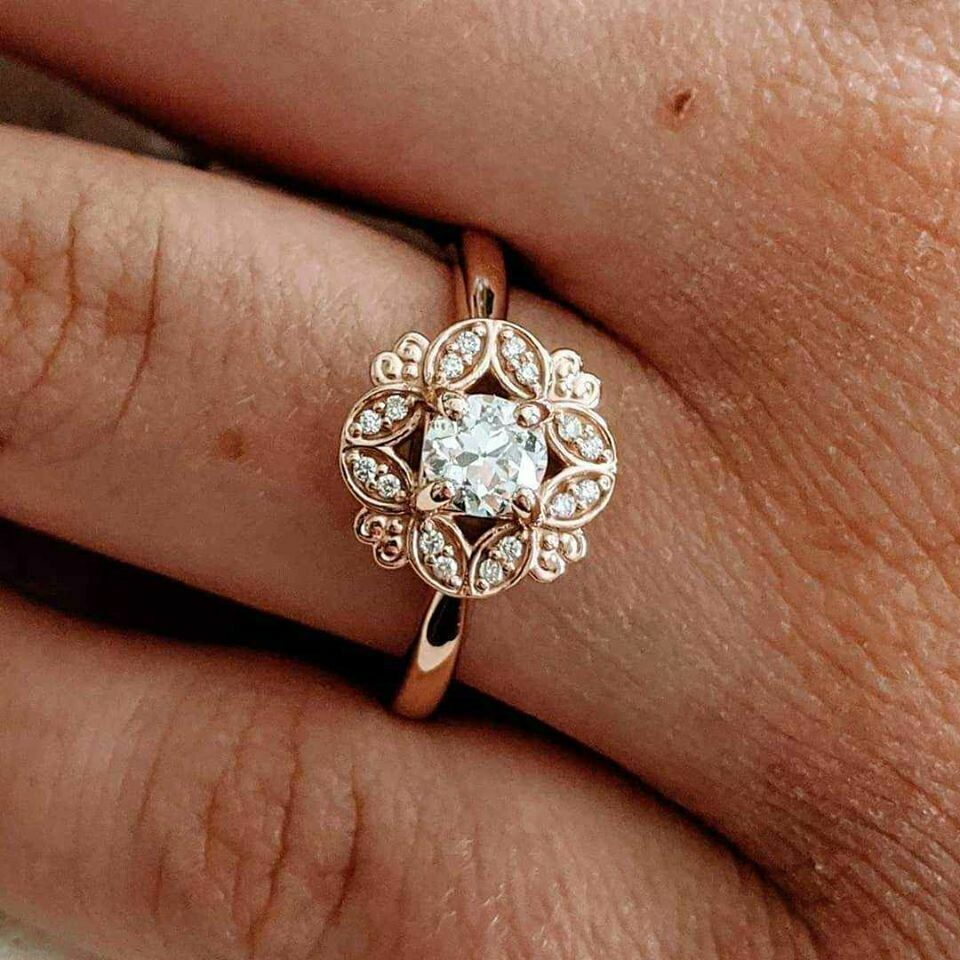 Rose Gold Diamond Ring with Vintage Old European Cut Center Diamond Sz 6.75