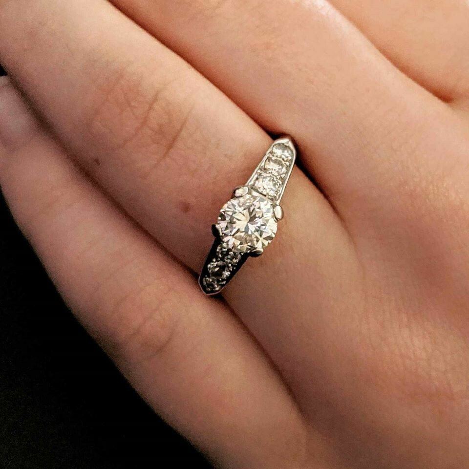 Authentic Vintage Platinum and Natural Diamond Ring