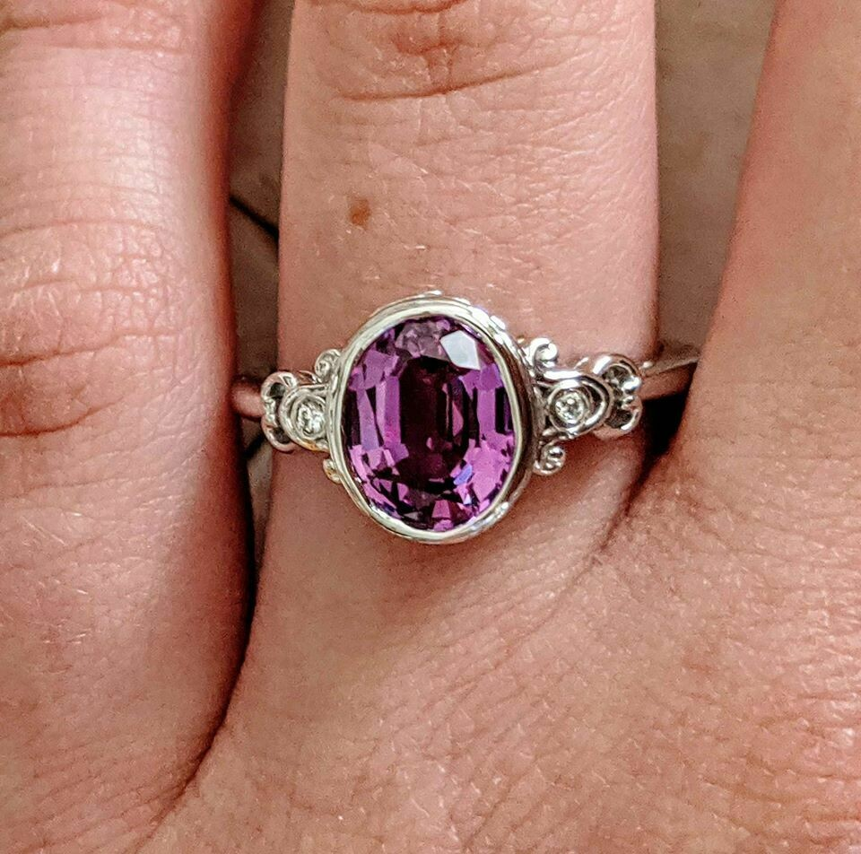 14k White Gold Bezel Set Orchid Colored Sapphire, Bezel Set with SI, G/H CVD Diamond Accents Sz 7
