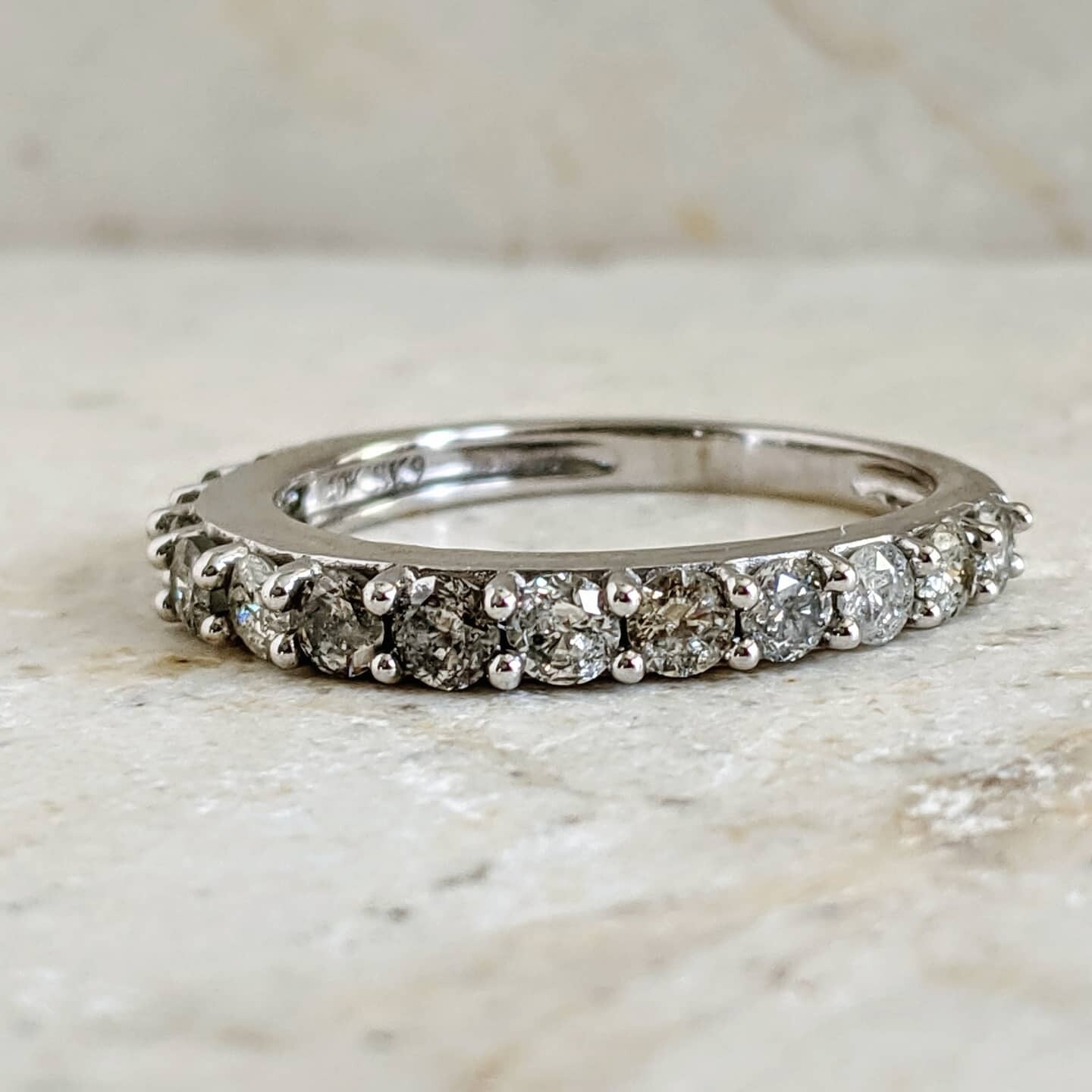 Salt and Pepper 1 Ct Natural Diamond Band Sz 7 10k White Gold