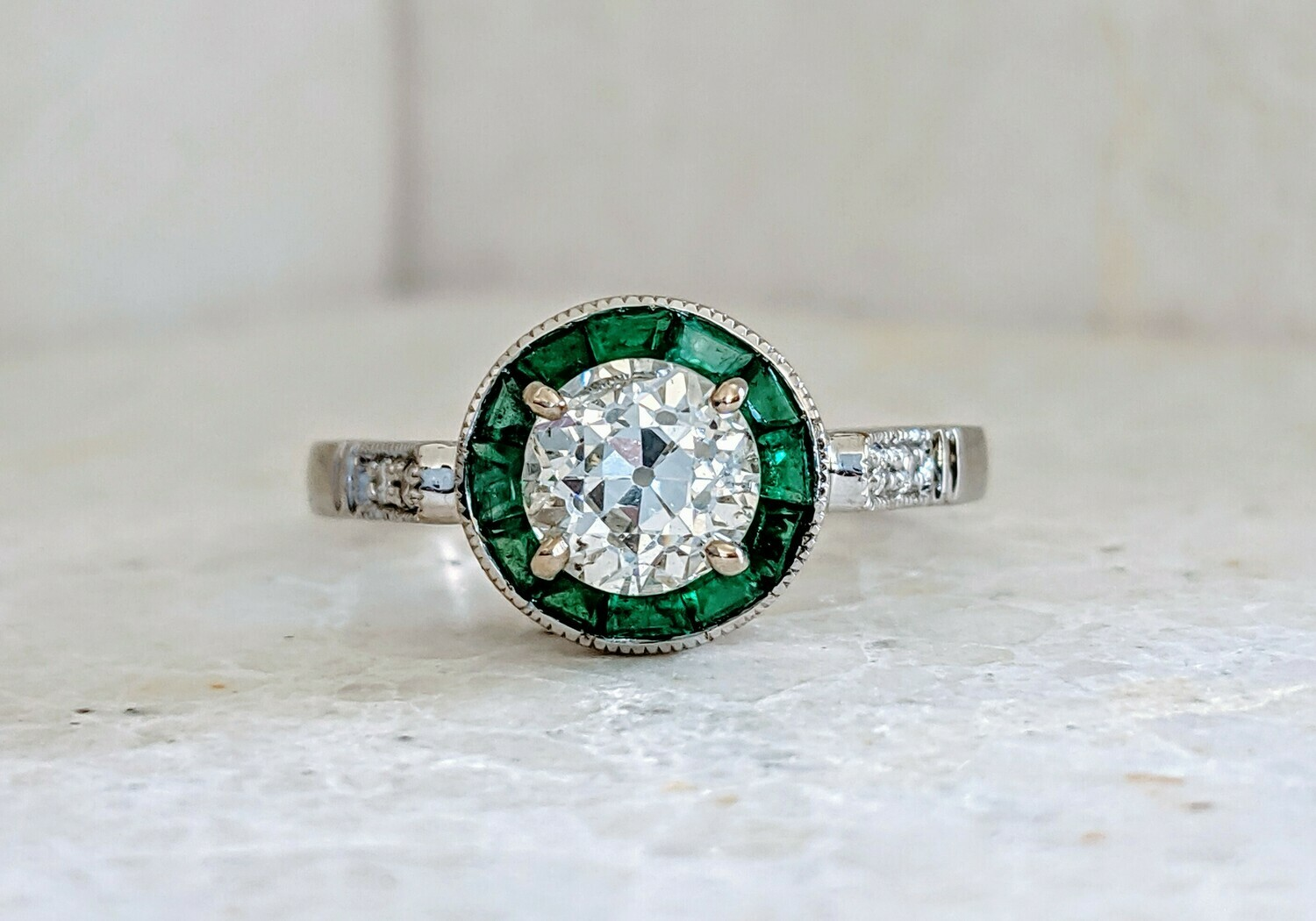 1.04 SI2, H Old European Cut Diamond and Natural Emerald Halo Vintage Style Ring