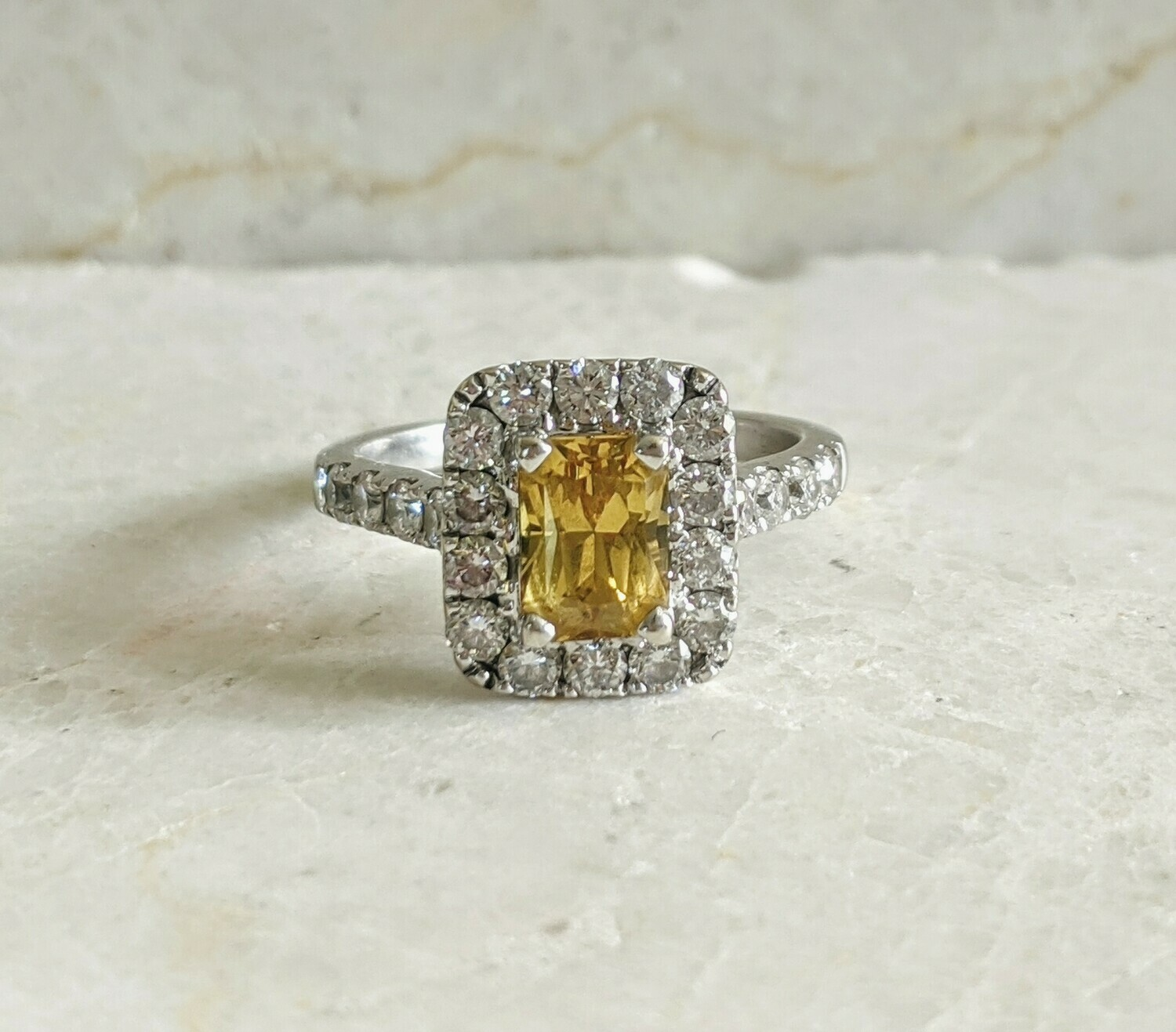 Natural 2.09 ct tw Yellow Sapphire and Diamond Engagement Ring 5.75