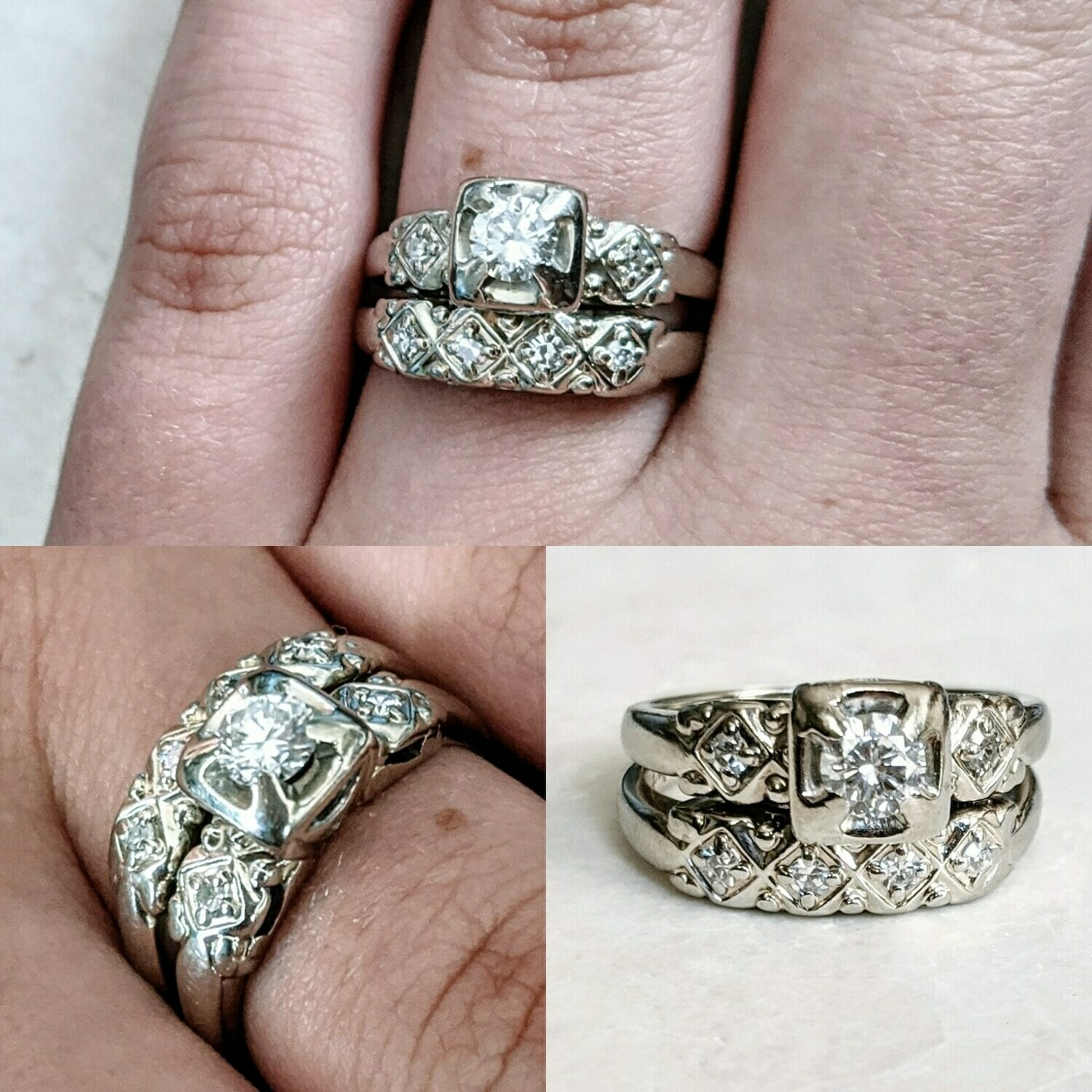 Authentic Vintage 1950s Diamond Wedding Set in 14k White Gold, Size 5.25