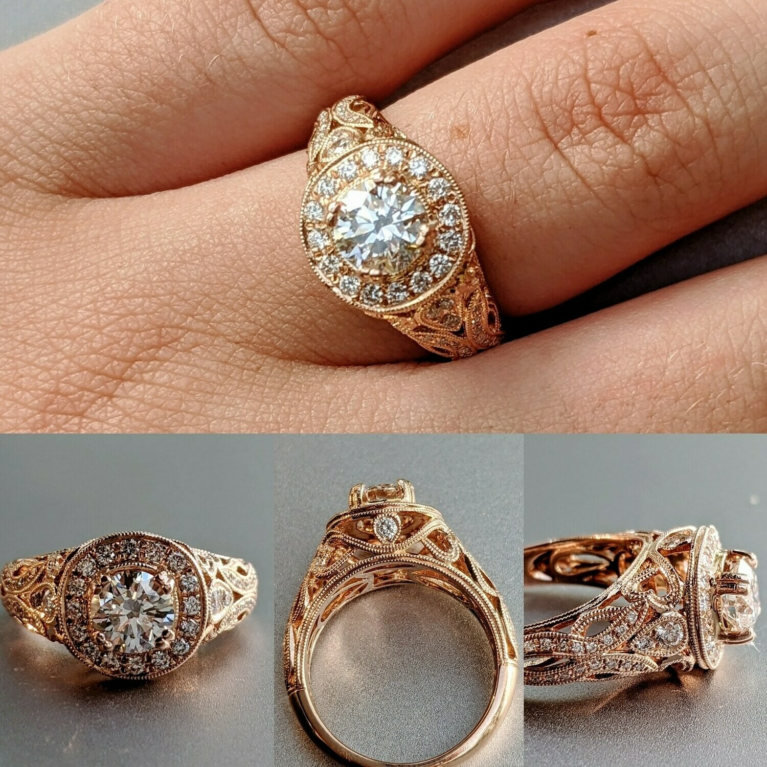 1.20 Carat Total 18k Rose Gold Halo Floral Engagement Ring