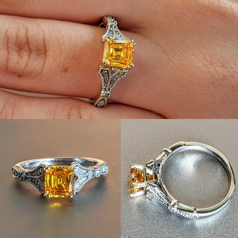 1.03 Ct TW Fancy Vivid Orangy Yellow Renaissance Cut Diamond Engagement Ring Sz 7