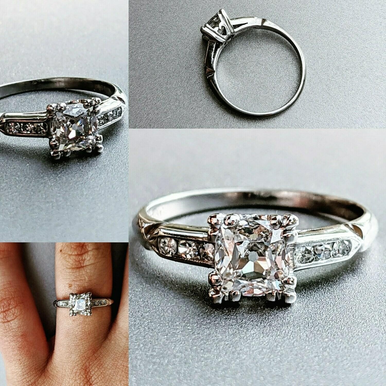 0.89 Ct VS2, J Platinum Vintage Engagement Ring Sz 5.5
