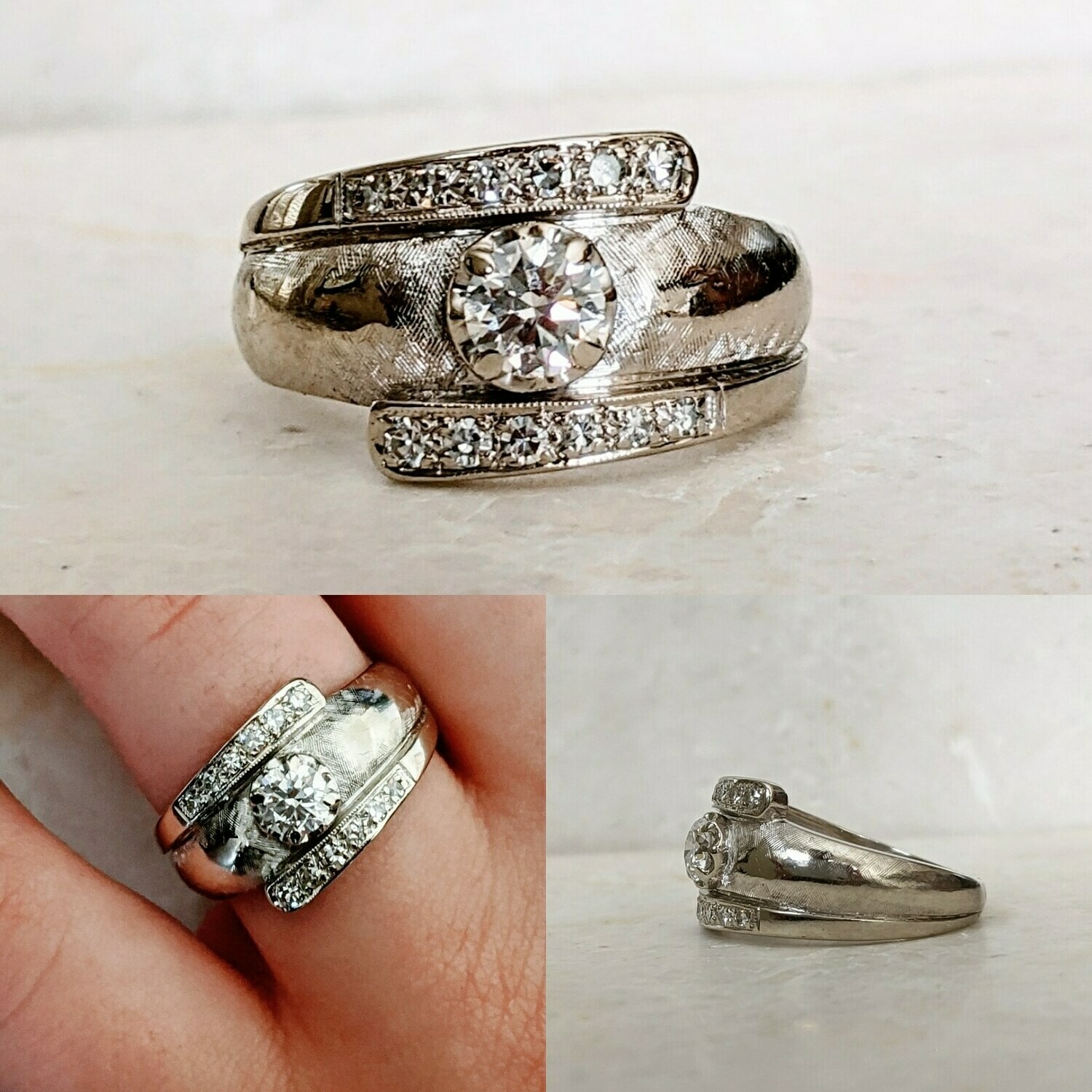 0.45 Carat Total Natural Vintage Diamond Ring VS+ H+, Sz 6.5