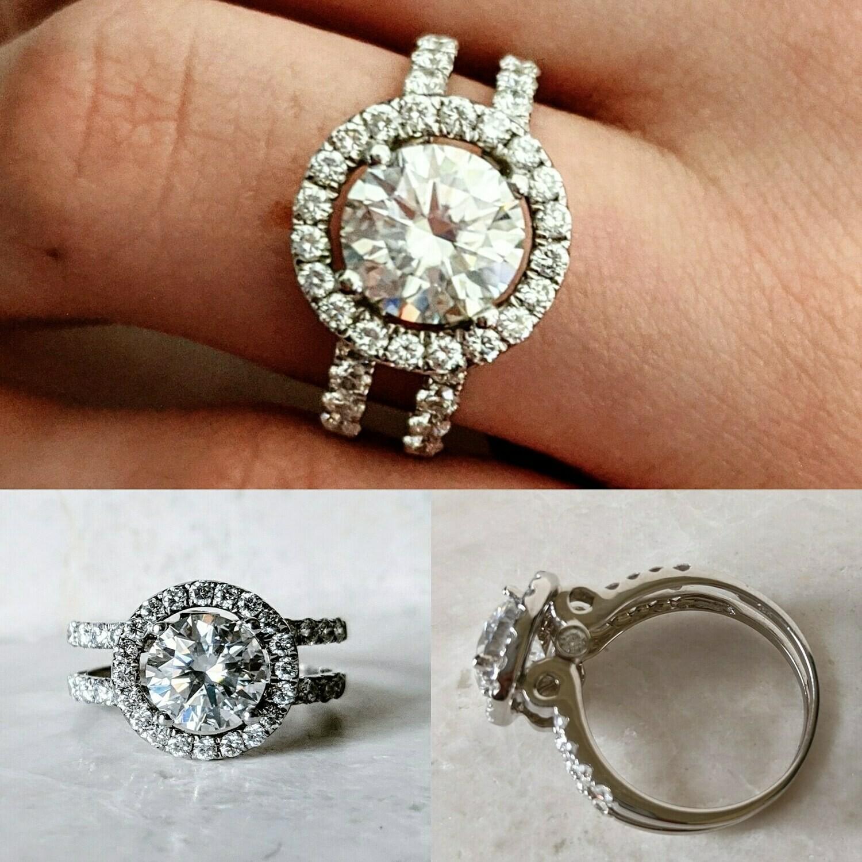 2.75 Carat Moissanite and Diamond Engagement Split Shank Ring Sz 7