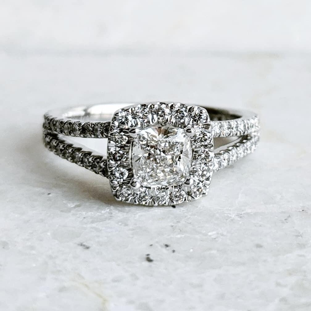 1.45 Carats Total Cushion Cut Halo Diamond Ring