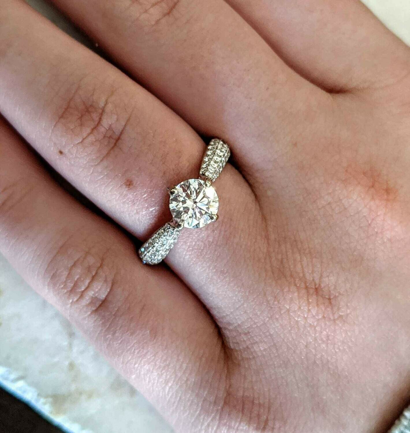 1.48 Ct Total, 0.96 SI2, I Diamond Engagement Ring