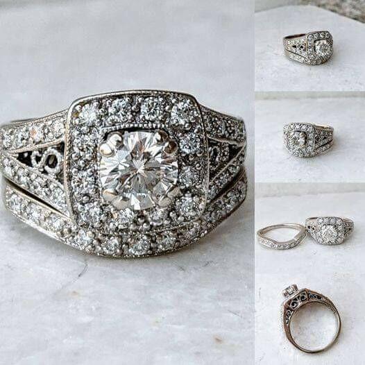 1.10 Carat All Natural Wedding Set, 0.60 Carat Center Diamond 14k White Gold Sz 5