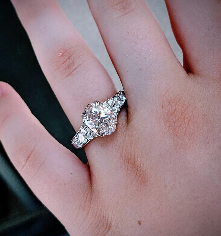 3.52 Carat TW Oval Diamond and Platinum Engagement Ring