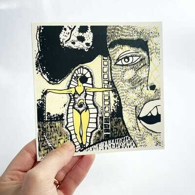 Silk Screen Printed Card FACE by Um Lazuli Limited Edition