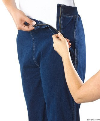 Womens Easy Access Zipper Front Jeans