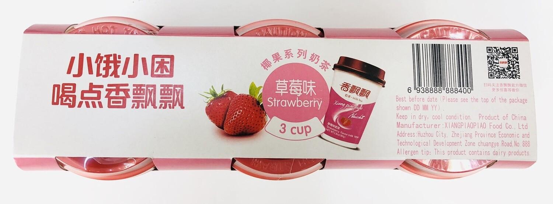 香飘飘椰果系列奶茶草莓味 Xiangpiaopiao strawberry flavor milk tea~2.80oz*3