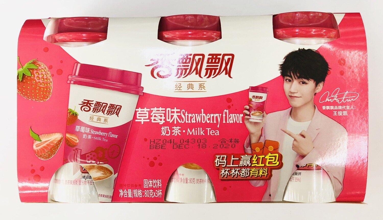 GROC【杂货】香飘飘经典系奶茶草莓味~80克*3杯